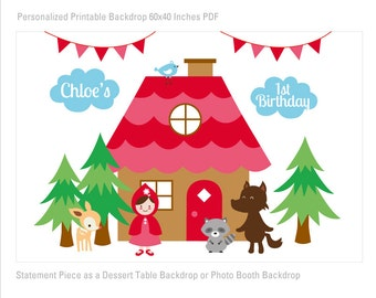 Little Red Riding Hood Birthday Printable Banner Backdrop 60x40 inches, Little Red Party Backdrop, Woodland Poster, HIGH RESOLUTION FILE