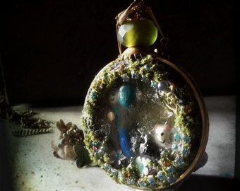 Story pendant Azores Country scene lava stone resin necklace diorama
