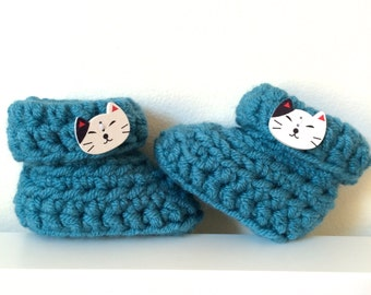 Kitty boots, baby booties, turquoise booties, cat, kitten
