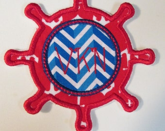 Ships Wheel with Monogram - Iron On or Sew On Embroidered Custom Made Applique