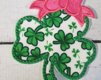 Shamrock with Bow - Iron On or Sew On Embroidered Applique  READY TO SHIP in 3-7 Business Days