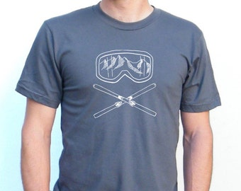Ski Design - Skiing Tshirt - Night Life - American Apparel 5050 Blend TShirt - Available in XS, S, M, L, Xl and Xxl