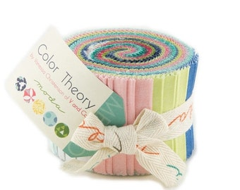 SALE Color Theory Junior Jelly Roll Fabric - Moda - V and Co.