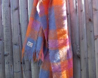 Vintage Mohair Scarf PASTEL Checker Scottish MOHAIR Blanket Scarf SCOTTISH Wool Fringe Scarf