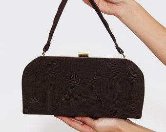 Vintage 40s CORDE Bag Evening Bag CHOCOLATE Fabric Purse Rectangle Formal Bag