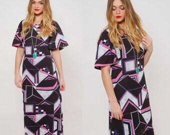Vintage 70s GRAPHIC Print Maxi Dress ABSTRACT Print Boho Dress MOD Maxi Dress