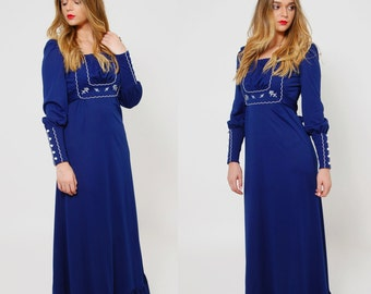 Vintage 70s Royal Blue PRAIRIE Dress Hippie Maxi Dress EMBROIDERED Long Sleeve FOLK Dress