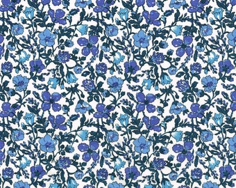 Liberty of London Tana Lawn Meadow A Blue Floral Fabric - 1 Yard