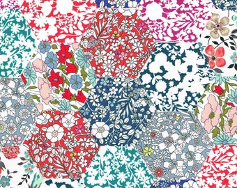 60 Liberty Fabric Hexagons 1 1/4″ Sides Spring Selection 1022