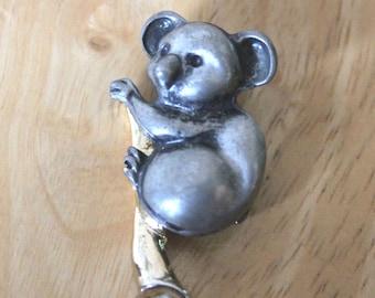Vintage pewterkoala bear brooch,pewter koala bear on a branch brooch,koala bear brooch/pin,pewter bear pin/brooch,vintage koala brooch/pin