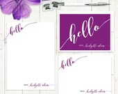 complete personalized stationery set - HELLO CALLIGRAPHY  - personalized stationary set - note cards - notepad - fun stationery
