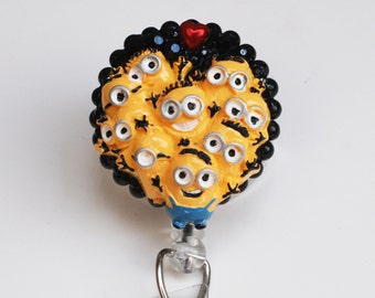 Many Minions From Despicable Me ID Badge Reel - Retractable ID Badge Holder - Zipperedheart