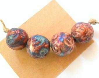 Large 16-17mm Round Raku Beads, Set of 4