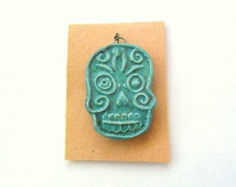 Stoneware Fired Clay Pendant or Bead - Dia De Los Muertos - Skull - Day of the Dead