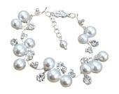 Bridal Bracelet, Pearl and Rhinestone Bridal Bracelet, Silver Pearl and Rhinestone Bracelet