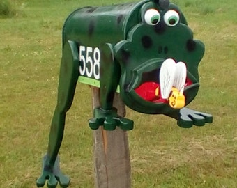 Leaping -frog -mailbox- with a fly on his tongue mailbox custom