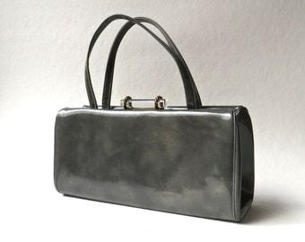 Mid Century vintage Elongated Stormy Grey Patent Vinyl Handbag