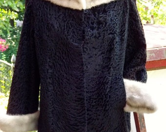 Stunning Vintage Persian Wool Evening Jacket Cropped Coat  with Grey  Mink Collar and Cuffs