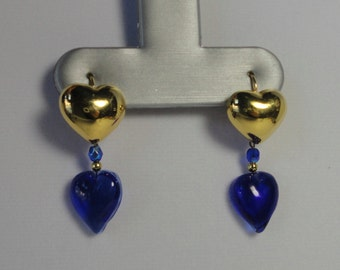 Gold tone metal and Cobalt Blue Glass Heart Earrings. Pierced Ears Earrings.