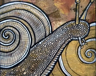 Original Snail Miniature Art Painting by Lynnette Shelley