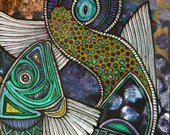 Jumping FIsh - Original Painting by Artist Lynnette Shelley
