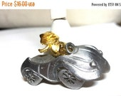 50% OFF Ultra Craft Pin Gold Tone Cat in Pewter Car Pin Vintage
