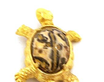 Vintage Turtle Gold Tone with Crazy Stone Body Pin