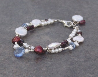Pearl Bracelet, Red, White, Blue, Double-Strand, Coin Pearl, Freshwater Pearl, Garnet, Mixed Bead Bracelet