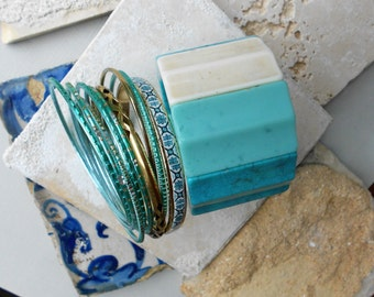 Portugal Antique Azulejo Tile Stacked Bracelet Set of 10 Bangles - Igreja São Nicolau, built in 13th Century St. Nicolas Church Lisbon