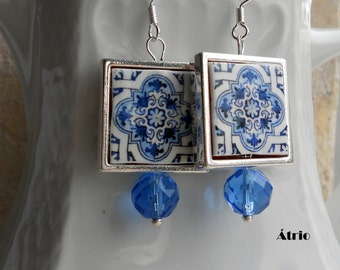 Portugal  Antique Azulejo Tile Majolica Replica 925 SILVER FRAMED Earrings, AvEIRO Blue - Geometric - waterproof and reversible 578 SILVER