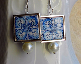 Portugal  Antique Azulejo Tile Replica Earrings - 925 Silver Framed - University of Évora founded in 1559 - Historic! 700 SILVER