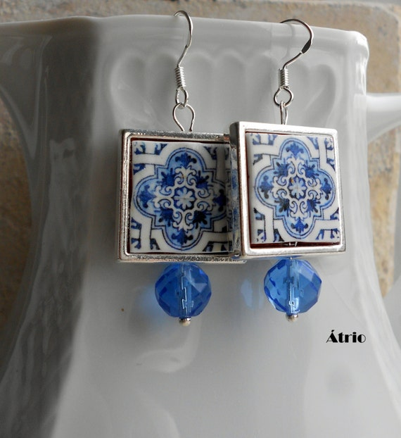 Portugal  Antique Azulejo Tile Majolica Replica 925 SILVER FRAMED Earrings, AvEIRO Blue - Geometric - waterproof and reversible 578 SILVER