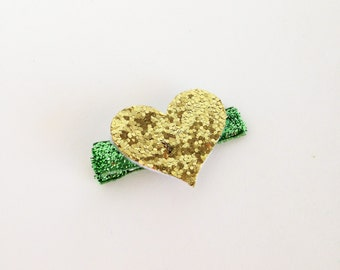 SALE!!!Gold Sparkle Heart and Green Ribbon Hair Clip, Hair Accessories