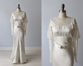 1930s Wedding Dress / Lace and Satin Wedding Dress / Leg O' Mutton Sleeves / Small Train / Moonlight