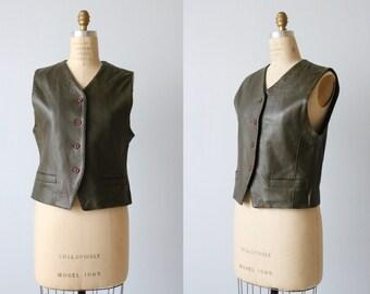 Vintage Womens Leather Vest / 1980s Lizsport Green Leather Vest / Button Down