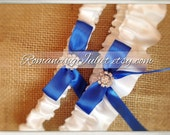 Skirted Satin Bridal Garter SET Rhinestone Accents....You Choose The Colors..Shown in white/royal blue