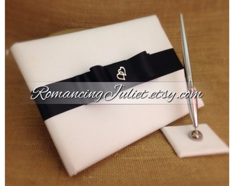 Custom Colors Wedding Guest Book and Pen Set with Two Hearts Accent...You Choose the Colors.... shown in white/black