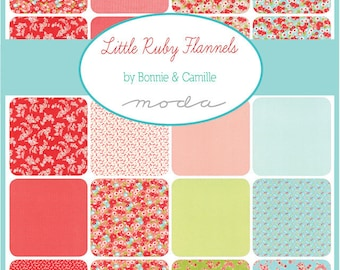 SUMMER SALE - In Stock - Factory Cut - FLANNEL - Little Ruby - Fat Quarter Bundle (16) - Bonnie and Camille for Moda Fabrics