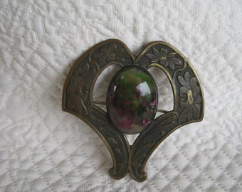 Extra Large Victorian Sash Pin Brooch Marble Art Glass Cabochon Greens Raspberry Pink