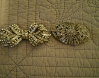 Two Pot Metal and Rhinestone Pins 1940s