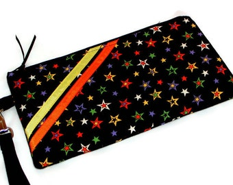 OH MY STARS! Wristlet Zippered Pouch Detachable Strap Fall/Halloween Black/Purple/Orange/Yellow Accessory Gray Mountain Purse-a-nalities