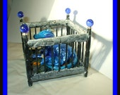 dollhouse miniature Mother and Sleeping baby Dragon in crib witch OOAK