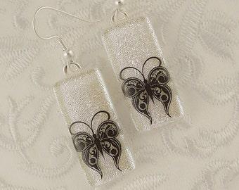 Butterfly Earrings - Dichroic Fused Glass Earrings - Dangle Earrings - Glass Jewelry - Drop Earrings - Sea Glass - Beach Earrings 2417