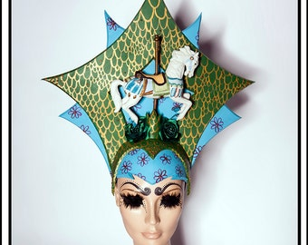 Spin Me Right Round… Carousel Horse Pony Headdress with Flowers in Green and Blue