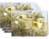 Christmas tinsel card, festive holiday card, gold tinsel card, decorative xmas celebration festive season card, merry christmas card