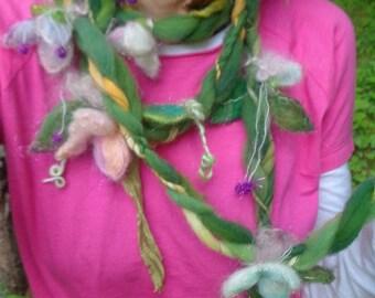 scarf fantasy luxury fiber art yarn braid lariat garland scarf - wild moss gardens