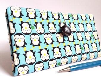 Handmade CHECKBOOK COVER Wallet Carrier Holder - Aqua Blue Japanese (Kokka) fabric wallet - Lil Penguins