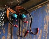 Copper Earrings, Primitive, Celtic Style, Artisan Jewelry