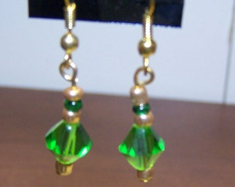 CLOSING SALE Simple Green and Gold Crystal Earrings