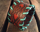 Aztec Brown Tooled Leather Cowgirl Cuff with Turquoise Stitching